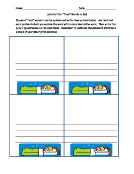 Let's Put Our Tired Words to Bed Adjective Worksheet *Freebie*