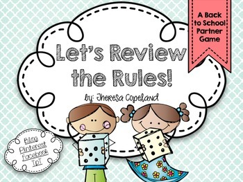 Let's Review the Rules - A Back to School Partner Game {Editable}