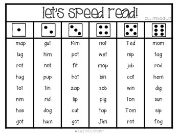 Let's Speed Read: Fluency Practice with Dice