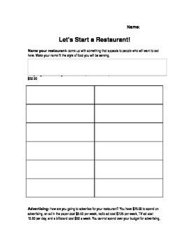 Let's Start a Restaurant- Practical Math and LA