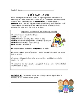 Let's Sum it Up - Summary Resource Packet
