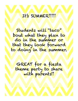 """Let's """"TACO"""" bout summer! (End of Year Activity)"""