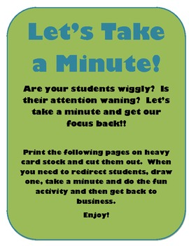 Let's Take A Minute!  One Minute Activities to Get Students Back on Track