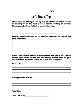 Let's Take a trip! Practical mini unit for math and written expression