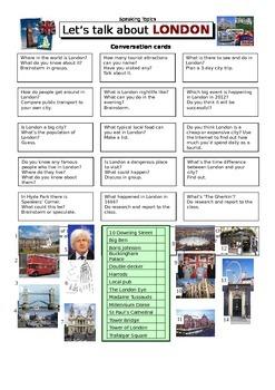 ESL Let's Talk About London - EFL Conversation Worksheet
