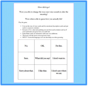 Let's Talk About Tone of Voice: A Social Skills Discussion and Game Activity