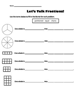 Let's Talk Fractions - vocabulary