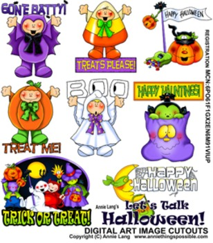 """Let's Talk Halloween"" Character Image Clipart"