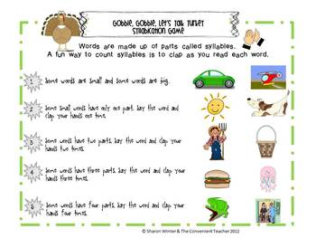Let's Talk Turkey: A Syllabication Game for Early Learners