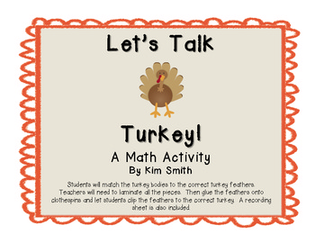 Let's Talk Turkey {A Thanksgiving Addition Activity}