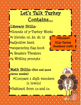 Let's Talk Turkey Thanksgiving Math and Literacy Unit