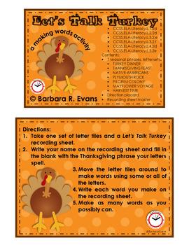 MAKING WORDS: Thanksgiving Word Work, Turkey Literacy Center