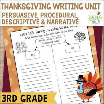 Thanksgiving Writing Materials: Persuasive, Procedural, Descriptive, Narrative