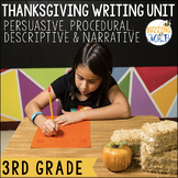 Thanksgiving Writing Lessons for Persuasive, Procedural, Descriptive, Narrative