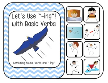 """Let's Use """"-ing""""! Interactive Book with Basic Verbs (Noun Action Combinations)"""