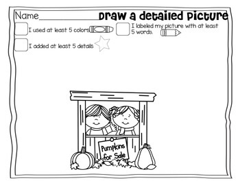 Let's Work On Writing October {Drawing Detailed Pictures AND Adding Labels}