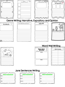 Let's Work on Writing - June - Monthly Themed Writing
