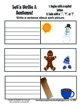 Let's Write A Sentence - Writing Prompt - Winter Theme