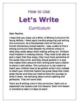 Let's Write Curriculum Overview
