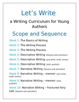Let's Write Curriculum Scope and Sequence