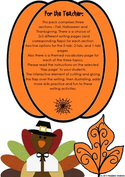Let's Write Sentences - Fall - Halloween - Thanksgiving