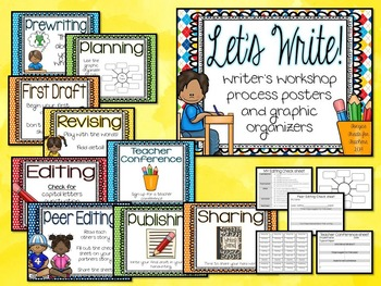 Let's Write~writing workshop posters and graphic organizers {EDITABLE}