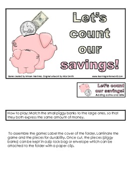Let's count our savings! Adding coins and bills.