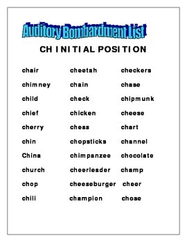 "Let's get Talking - Articulation activities for initial ""ch"""