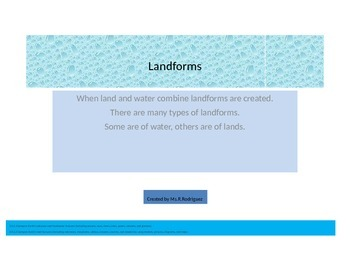 Let's learn about Landforms: Water & Land