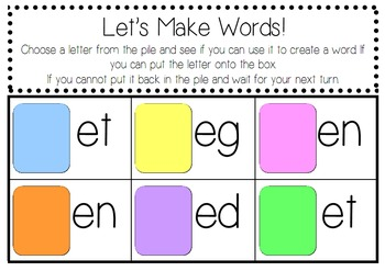 Let's make words game (word families/cvc)