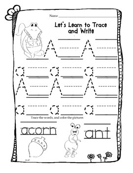 Let's Trace, Write and Color Work Sheets