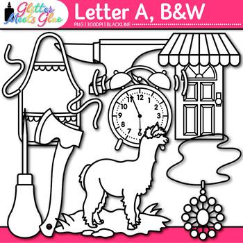 Letter A Alphabet Clip Art {Teach Phonics, Recognition, and Identification} B&W