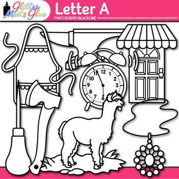 Letter A Alphabet Clip Art {Teach Phonics, Recognition, and Identification} B&W