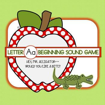 Letter A Beginning Sound Group Activity - Alligator and Apple theme