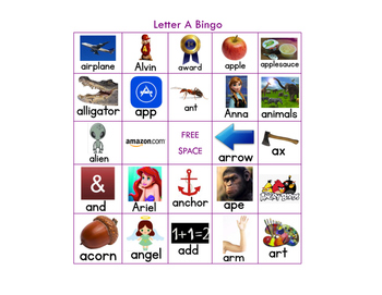 Letter A Bingo