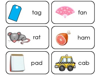 Letter 'A' CVC Picture and Word Printable Flashcards. Preschool-Kindergarten ELA