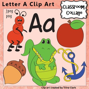 Letter A Alphabet Clip Art - Items start w letter A sound {Color} pers/comm use