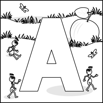 Letter A Connect the Dots and Coloring Page, Commercial Use Allowed