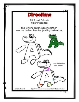 Letter A Craftivity - Alligator - Zoo Phonics Inspired - Color & BW Versions