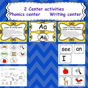 Letter A activities (emergent readers, word work worksheets, centers)
