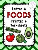 Letter A FOODS Printable Worksheets