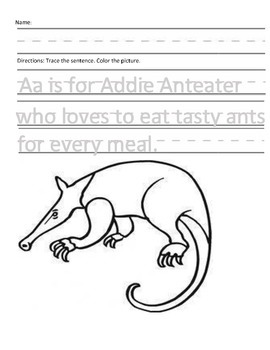 Letter A for Anteater Handwriting Practice and Questions!