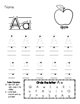 Letter A Handwriting Worksheet