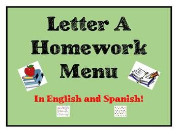 Letter A Homework Menu- Dual Language