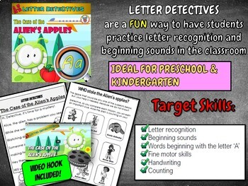 Letter A Worksheets in a Mystery Activity - Alien's Apples! - Letter Recognition