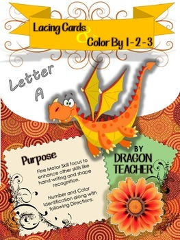 Letter A - Lacing Cards and Color by 1 - 2 - 3