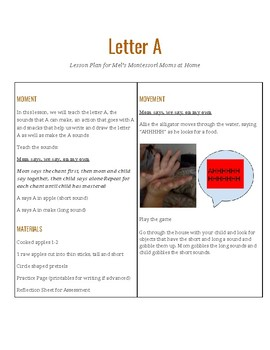 Letter A Lesson Plan for Mel's Montessori Moms at Home