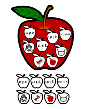 Letter A Literacy Game Apple Name Tag Bulletin Board ELA P