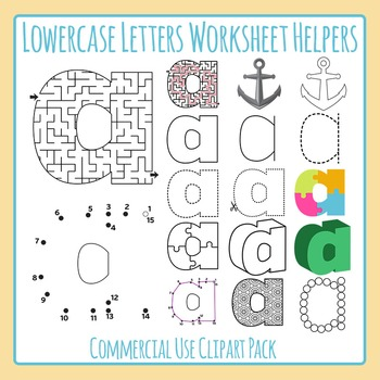 Letter A (Lowercase 1) Worksheet Helper Clip Art Set For Commercial Use