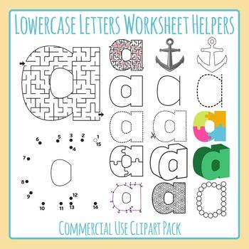 Letter A (Lowercase 1) Worksheet Helper Clip Art Set For C